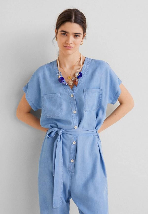 Фото 2 - Комбинезон джинсовый Mango голубого цвета
