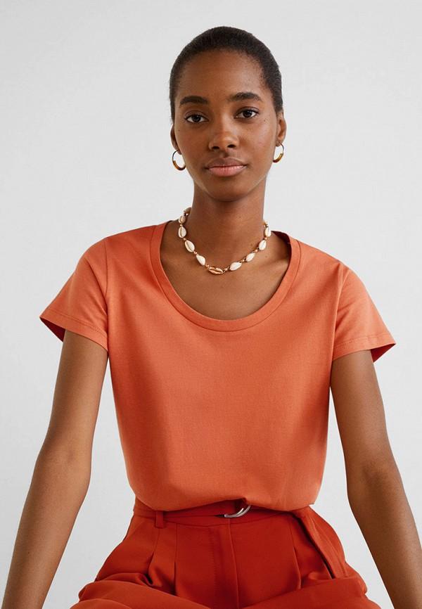 женская футболка mango, оранжевая