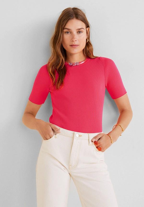 женская футболка mango, розовая