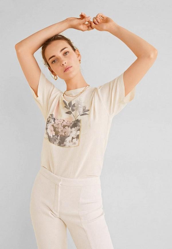 женская футболка mango, бежевая