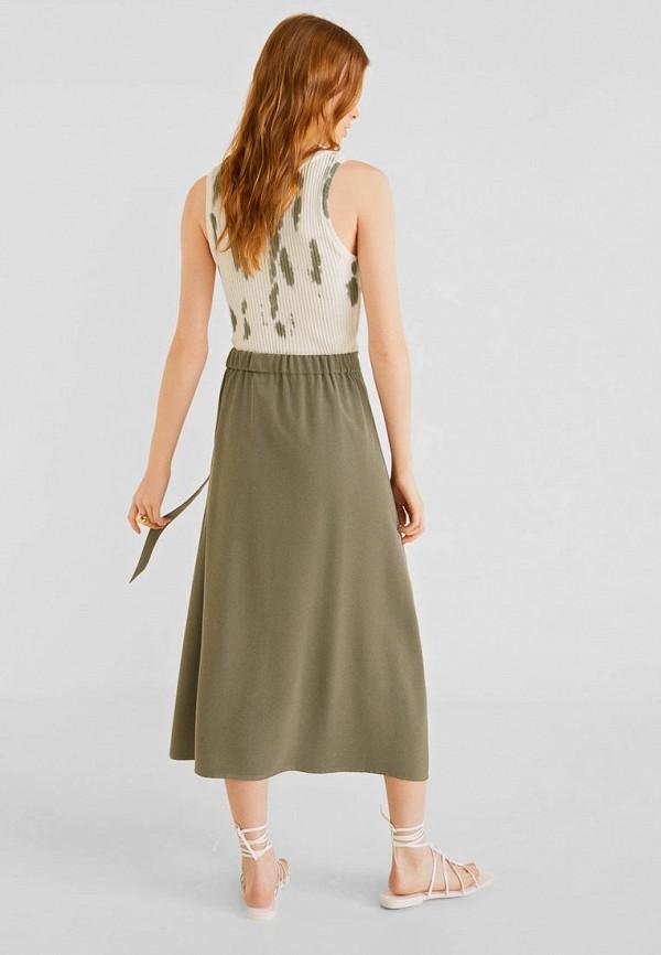 Фото 3 - женскую юбку Mango цвета хаки