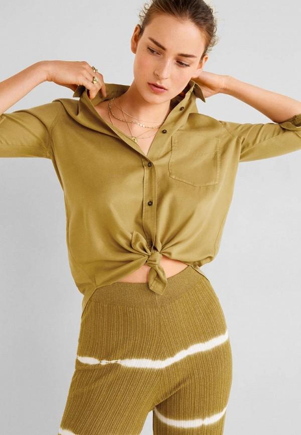 женская рубашка с длинным рукавом mango, хаки