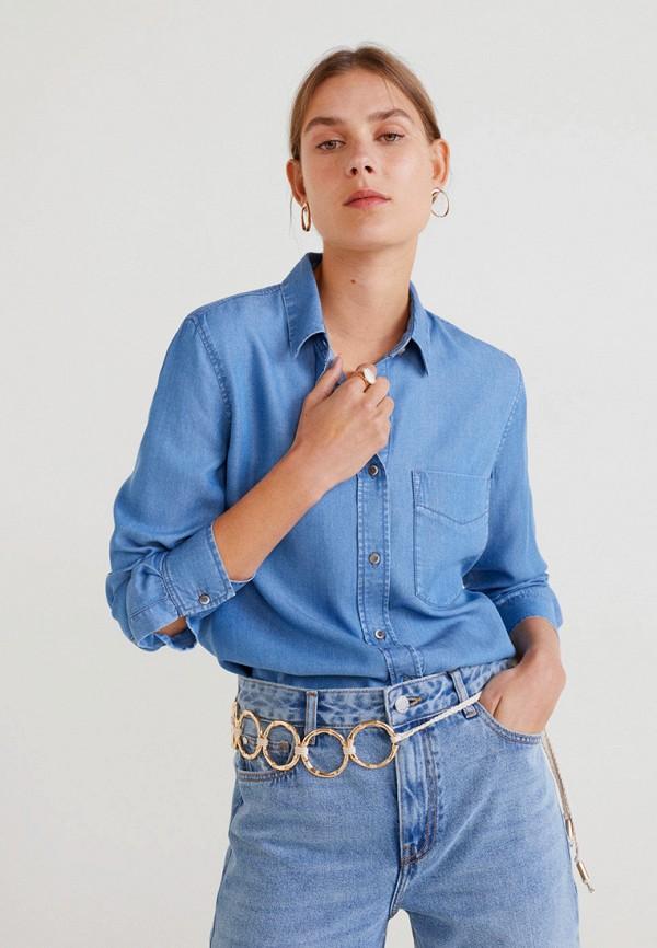 Купить Рубашку джинсовая Mango синего цвета