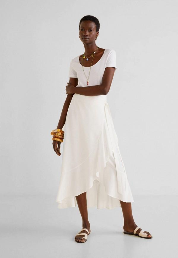 Фото 2 - женскую футболку Mango белого цвета