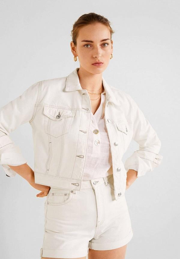 женская джинсовые куртка mango, белая