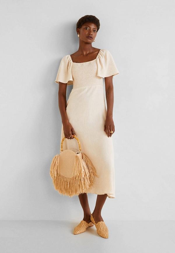 Фото 2 - женское платье Mango бежевого цвета