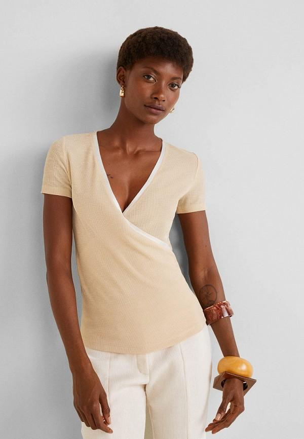 Купить женскую футболку Mango бежевого цвета