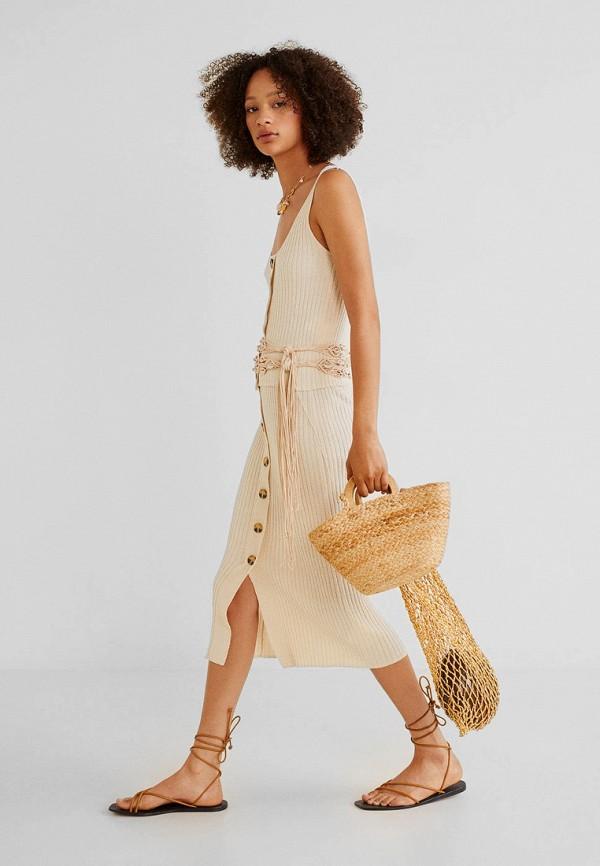 Фото 2 - женскую юбку Mango бежевого цвета