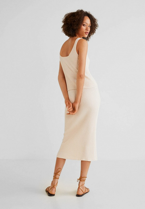 Фото 3 - женскую юбку Mango бежевого цвета