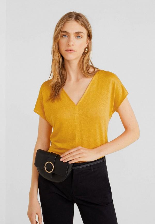Купить женскую футболку Mango желтого цвета