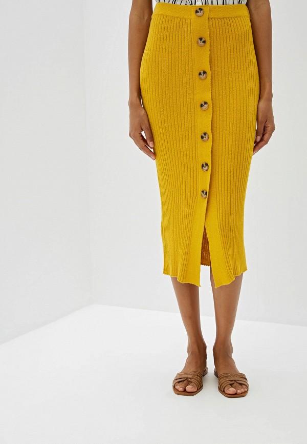 женская зауженные юбка mango, оранжевая
