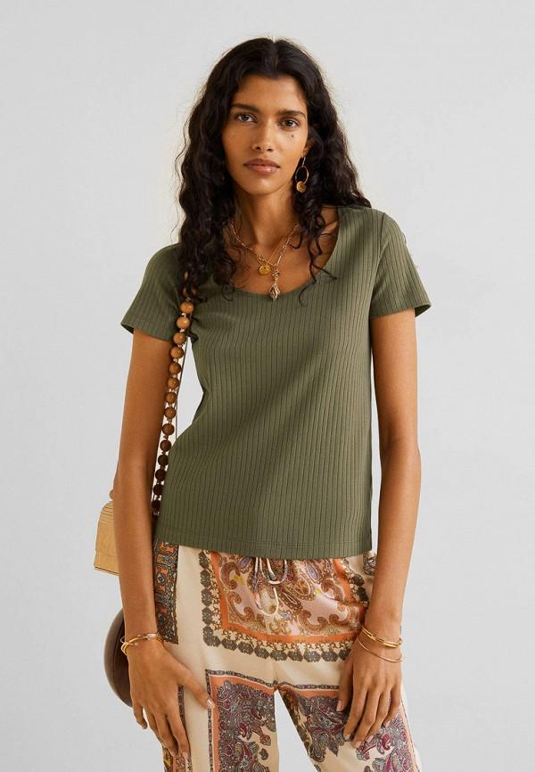Купить женскую футболку Mango цвета хаки