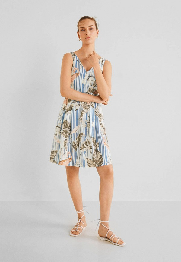 Фото 2 - женское платье Mango голубого цвета