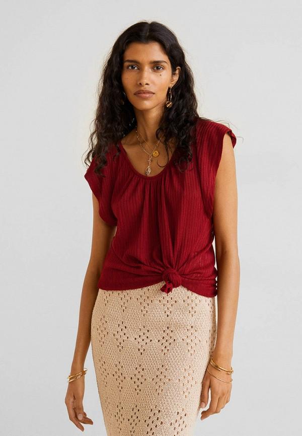 Купить женскую футболку Mango бордового цвета