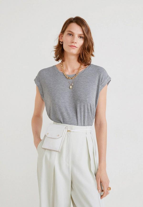 Купить женскую футболку Mango серого цвета