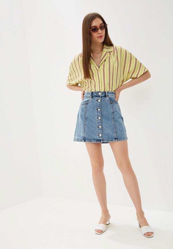 Фото 2 - Юбку джинсовая Mango синего цвета