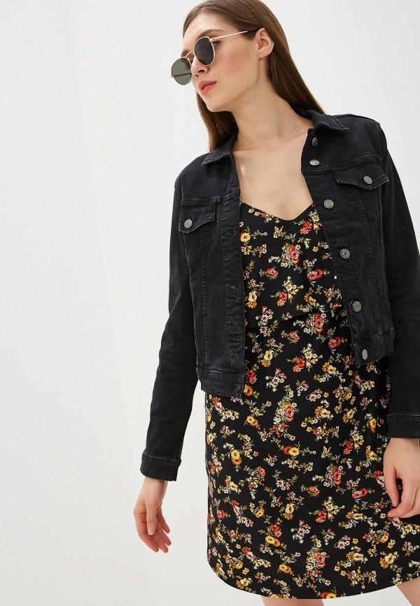 женская джинсовые куртка mango, черная