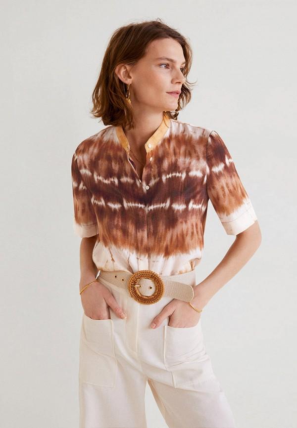 женская рубашка с коротким рукавом mango, коричневая
