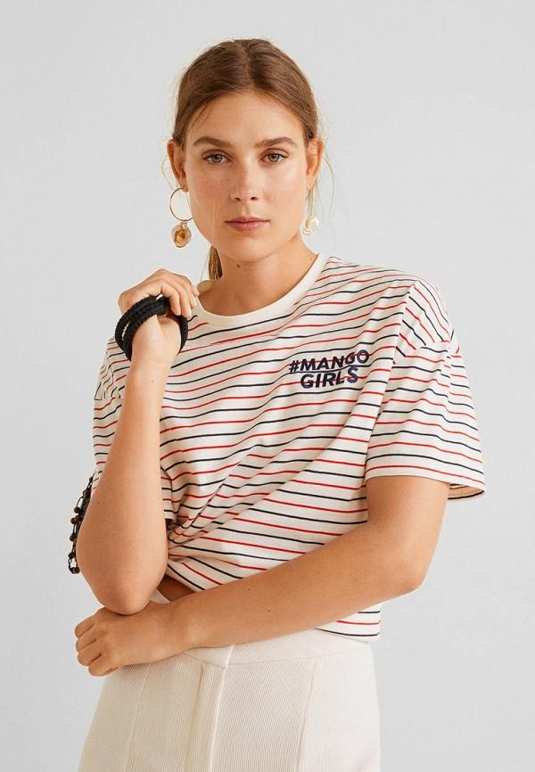 женская футболка mango, разноцветная