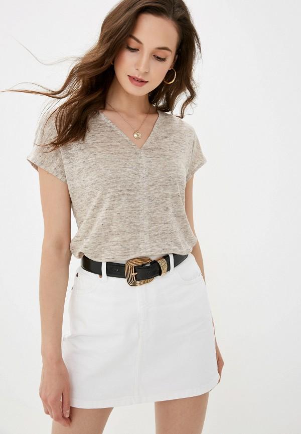 Фото - Женскую футболку Mango коричневого цвета