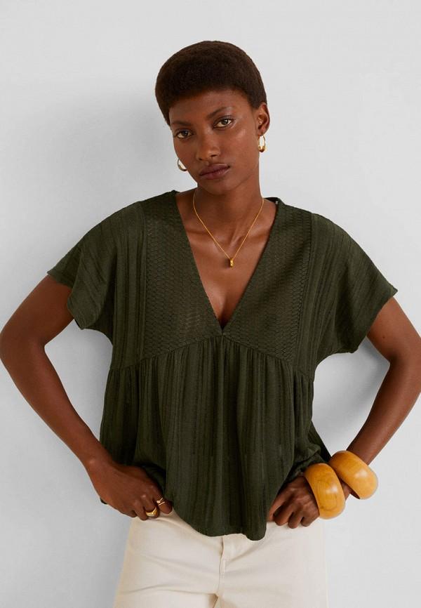 женская футболка mango, хаки