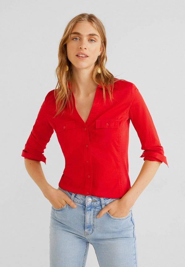 женская рубашка с длинным рукавом mango, красная