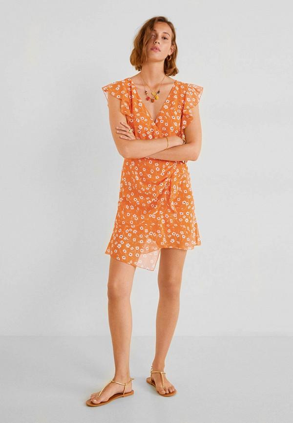 Фото 2 - женское платье Mango оранжевого цвета
