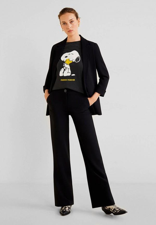 Фото 2 - женскую футболку Mango серого цвета