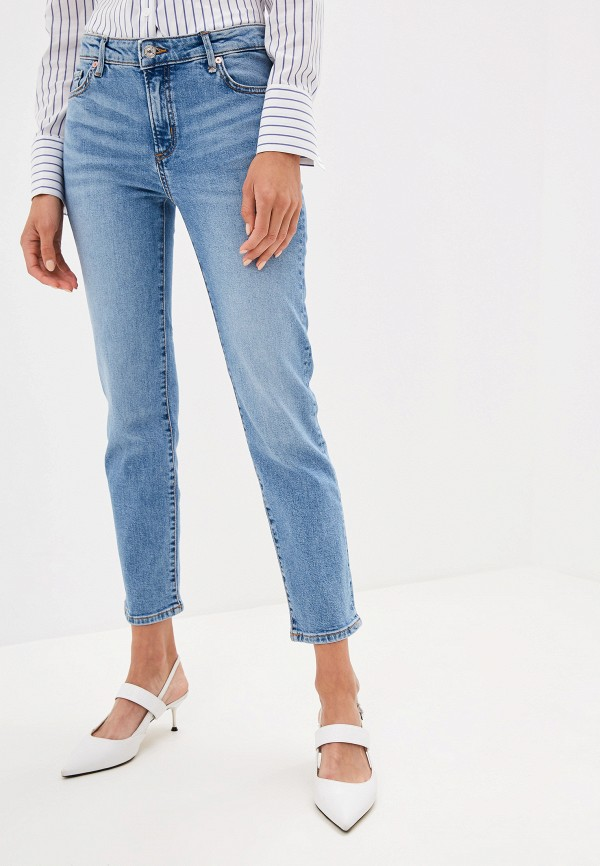 женские прямые джинсы mango, голубые