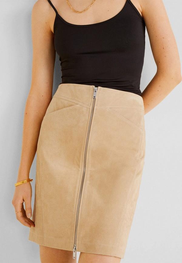 женская юбка mango, бежевая