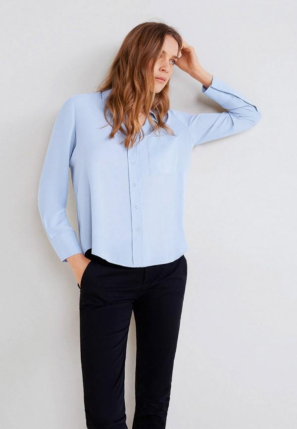 женская рубашка с длинным рукавом mango, голубая