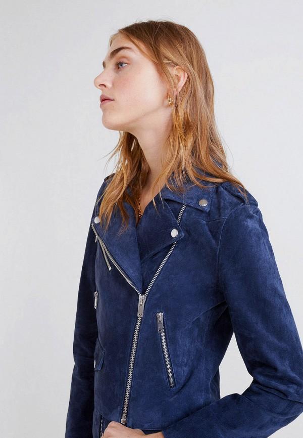 Фото - Куртку кожаная Mango синего цвета