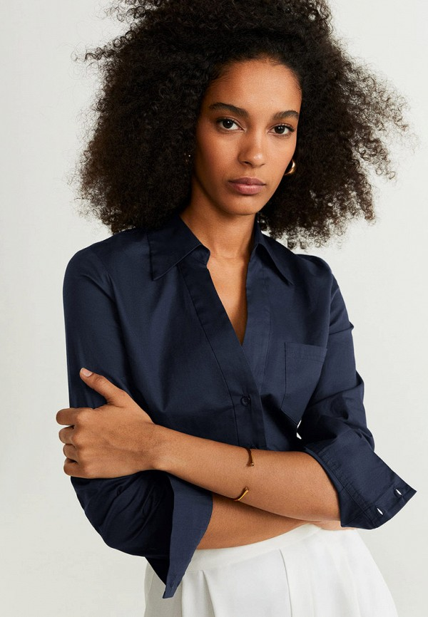 женская рубашка с длинным рукавом mango, синяя