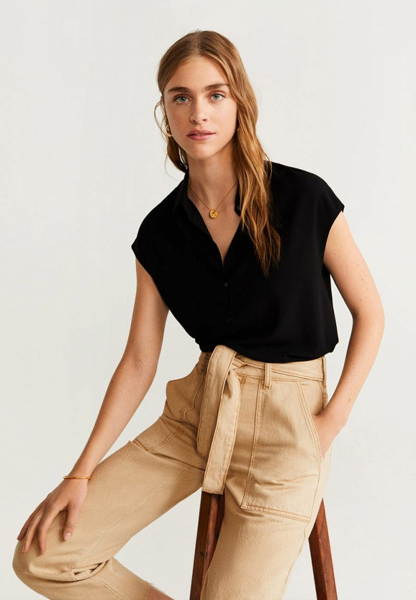 женская рубашка с коротким рукавом mango, черная