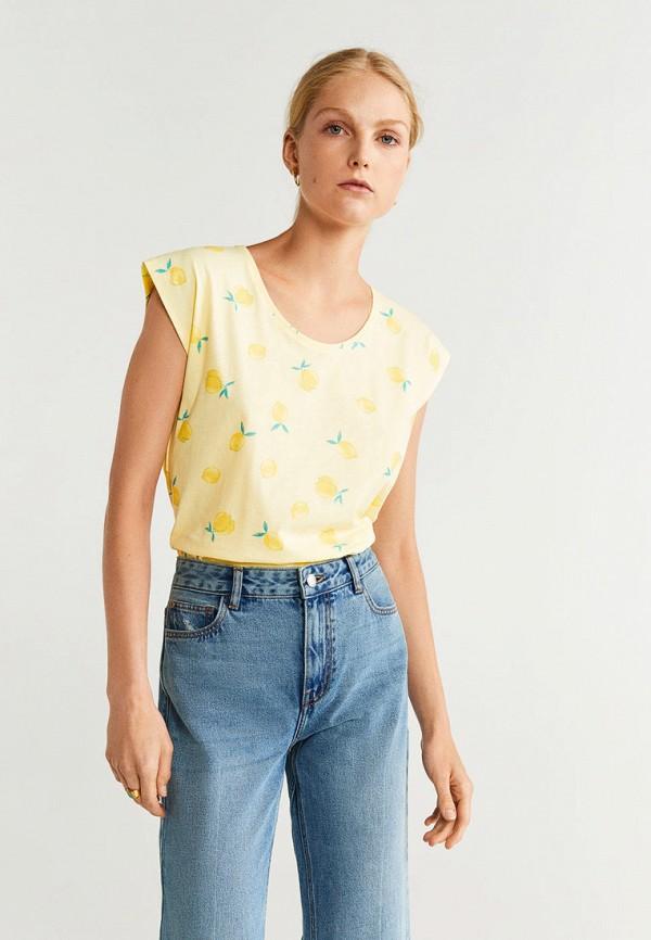 женская футболка mango, желтая