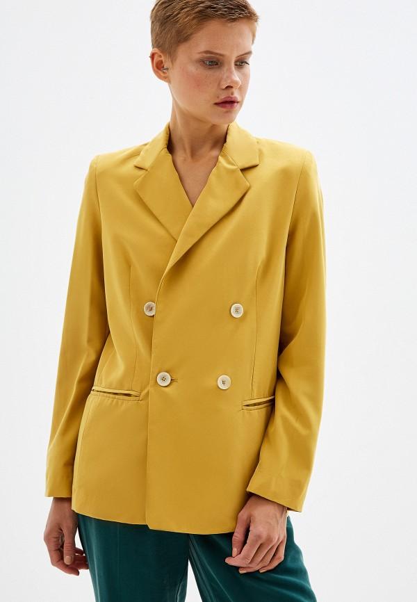 женский пиджак mango, желтый