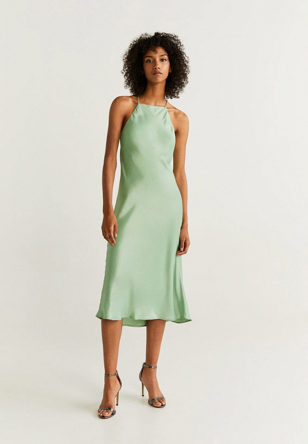 Фото 2 - женское вечернее платье Mango зеленого цвета