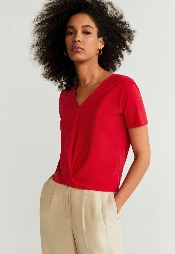 женская футболка mango, красная