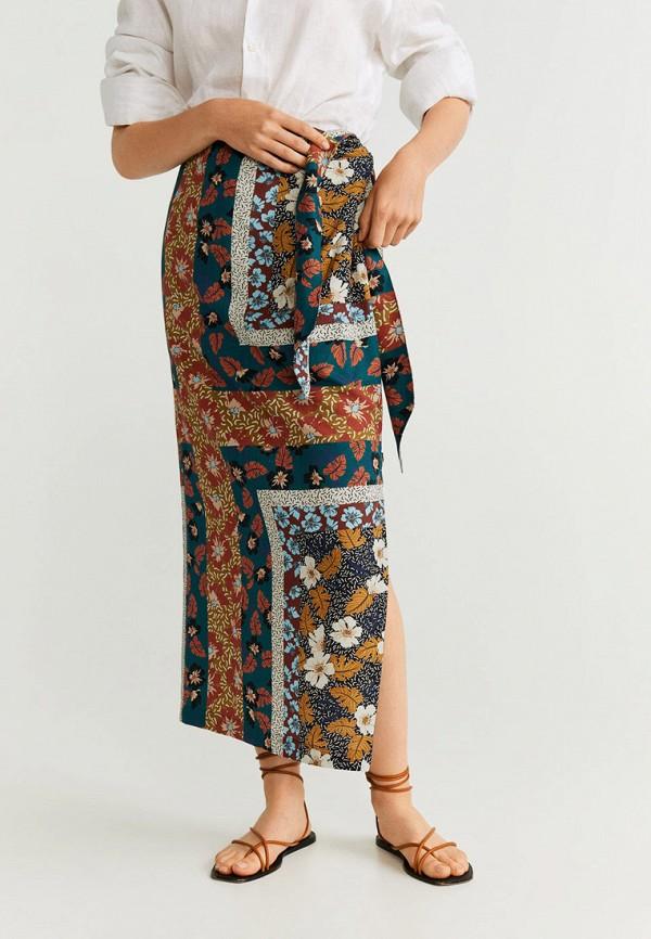 женская прямые юбка mango, разноцветная