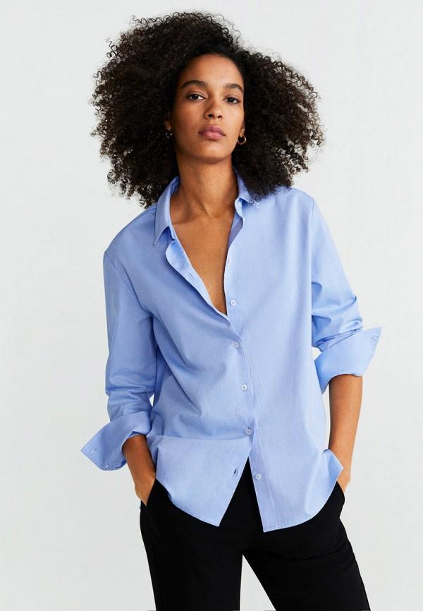 Фото - Женскую рубашку Mango синего цвета