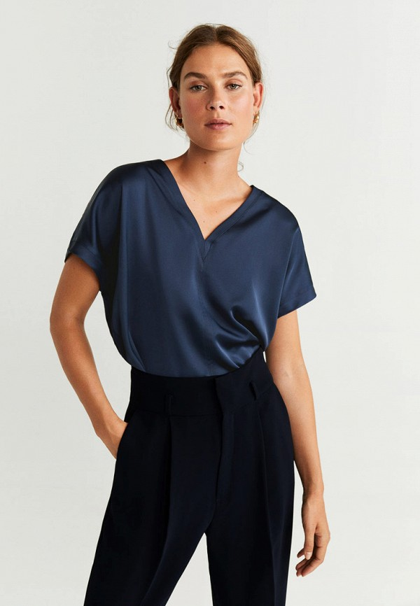 женская футболка mango, синяя