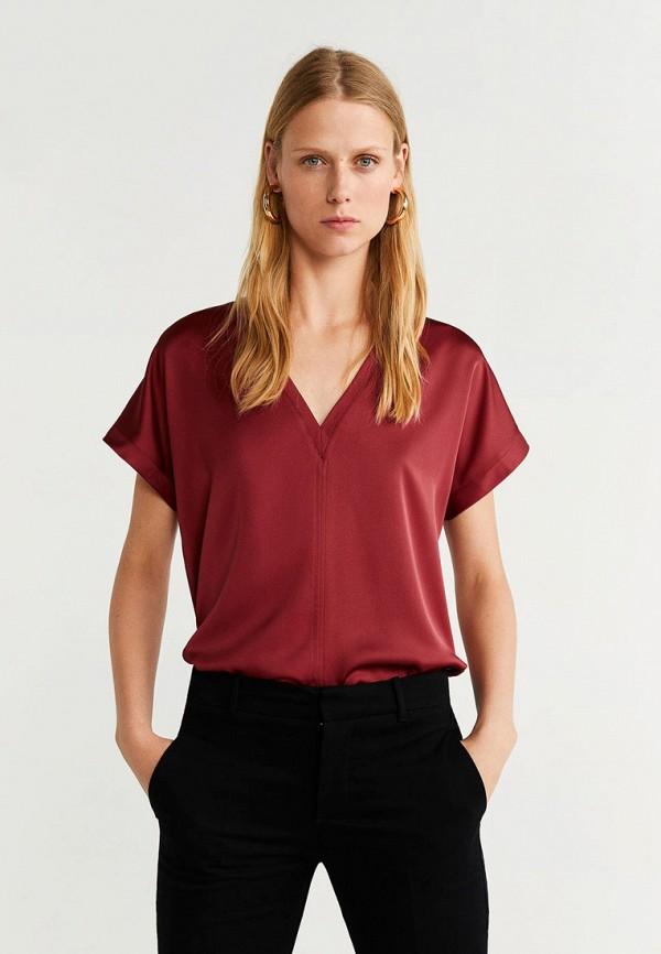 женская футболка mango, бордовая