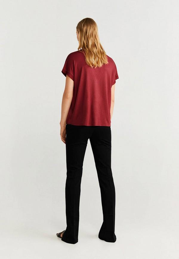 Фото 3 - женскую футболку Mango бордового цвета