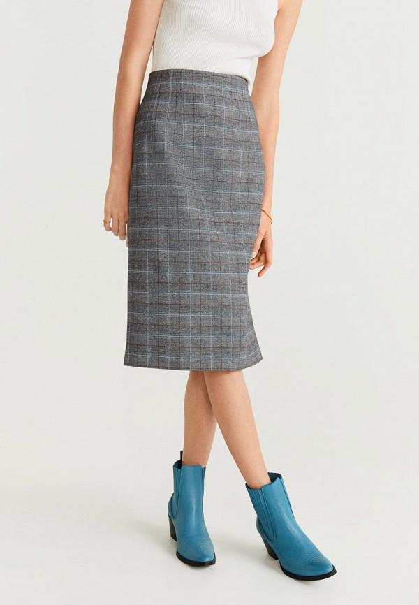 женская прямые юбка mango, серая