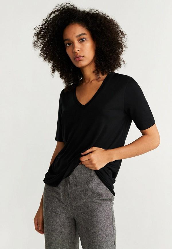 женская футболка mango, черная