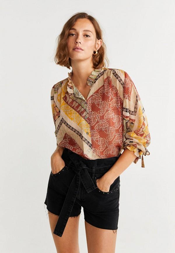 женская блузка mango, коричневая