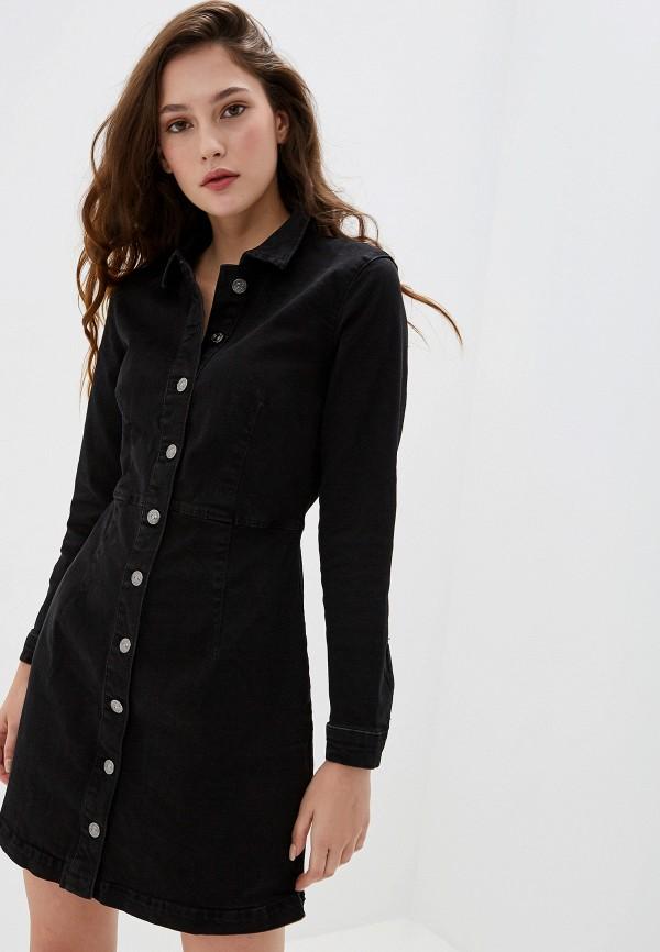 женское джинсовые платье mango, черное