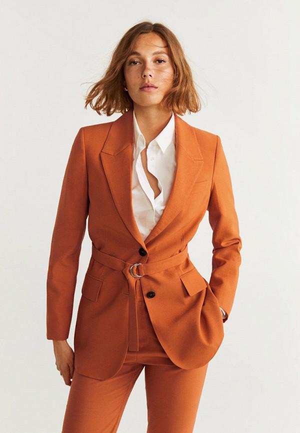 женский пиджак mango, оранжевый