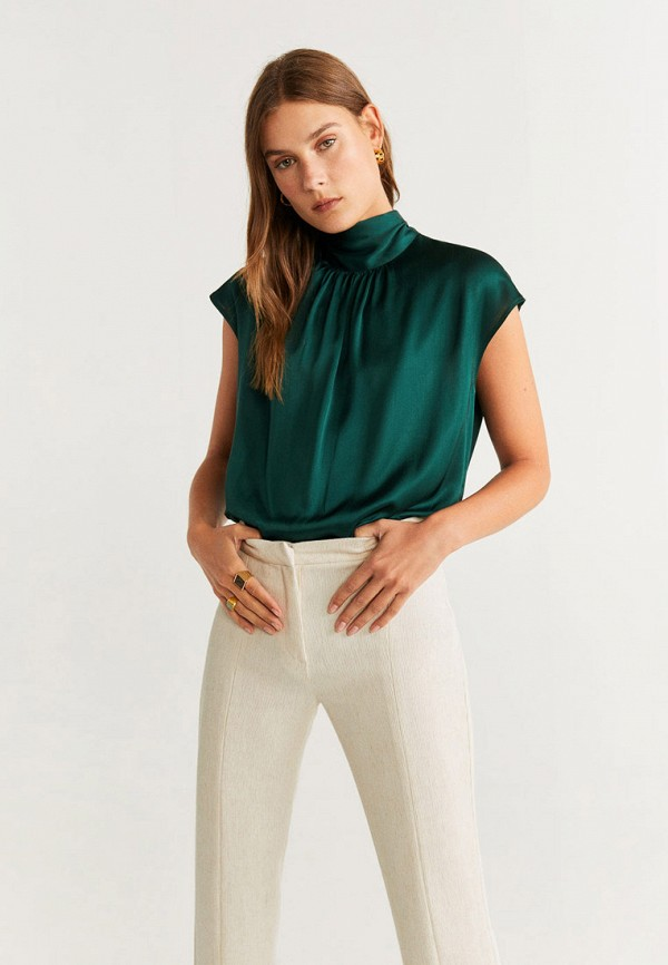 женская блузка mango, зеленая