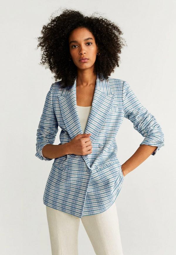 женский пиджак mango, голубой
